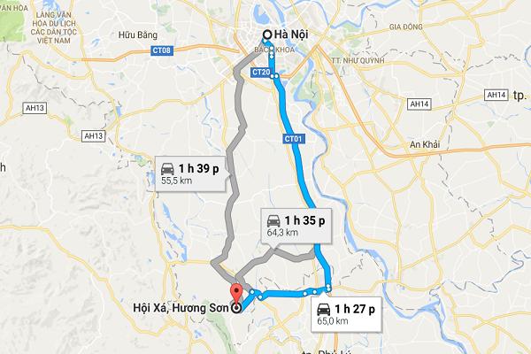 Tuyến đường thứ hai: qua ĐCT Hà Nội - Ninh Bình/ĐCT01, khoảng 65 km, đi ô tô hết 1 giờ 27 phút