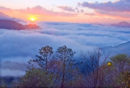 Bình minh thức dậy trên thành phố sương mù
